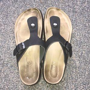 Women's black sandal slide thong (like gizeh)